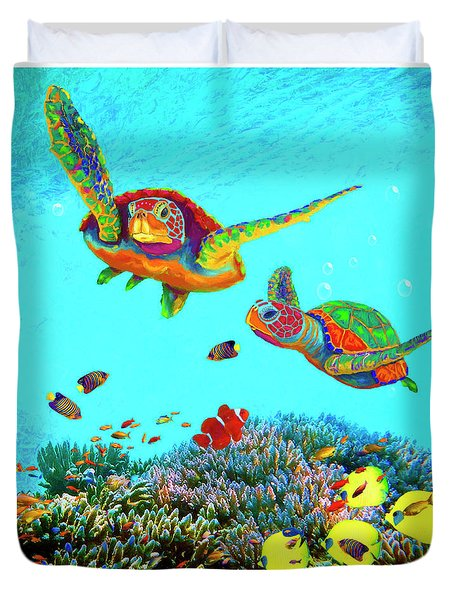 Caribbean Sea Turtles And Reef Fish Vertical Duvet Cover