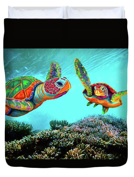 Caribbean Sea Turtles Duvet Cover