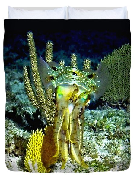 Duvet Cover featuring the photograph Caribbean Squid At Night - Alien Of The Deep by Amy McDaniel