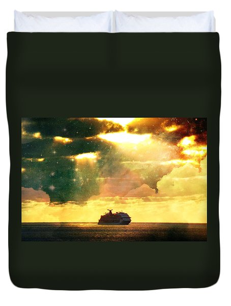Caribbean Sunset Cloud Art Duvet Cover