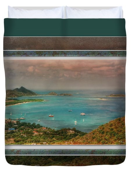 Duvet Cover featuring the digital art Caribbean Symphony by Hanny Heim