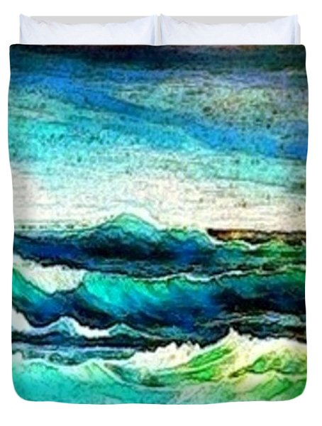 Caribbean Waves Duvet Cover by Holly Martinson