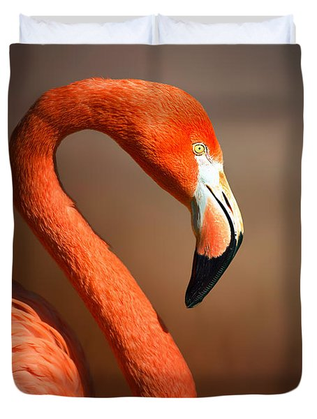 Caribean Flamingo Portrait Duvet Cover