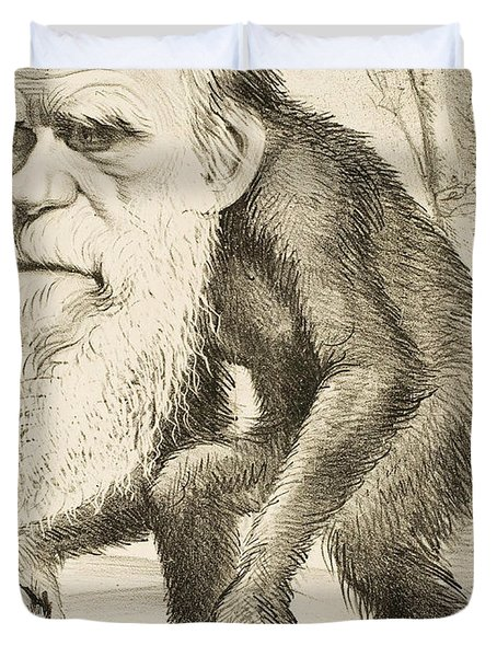 Caricature Of Charles Darwin Duvet Cover by English School