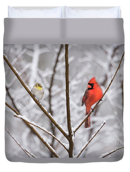 Goldfinch And Cardinal Duvet Cover