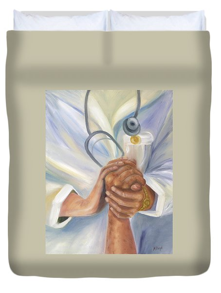 Caring A Tradition Of Nursing Duvet Cover by Marlyn Boyd