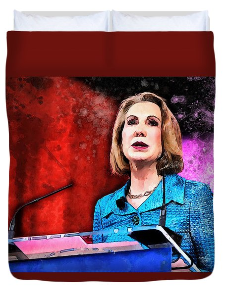 Duvet Cover featuring the painting Carly Fiorina by Kai Saarto