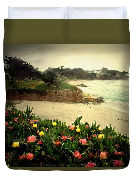 Carmel Beach And Iceplant Duvet Cover by Joyce Dickens