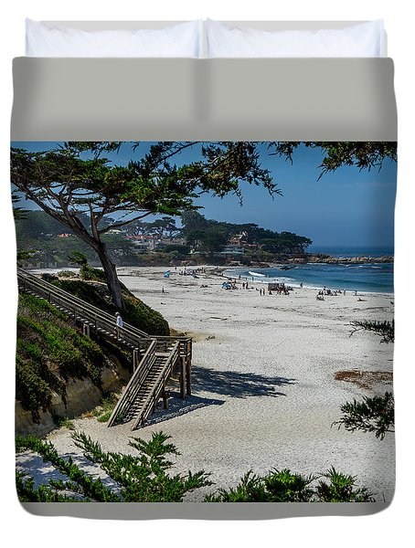Carmel Beach Stairs Duvet Cover by Derek Dean