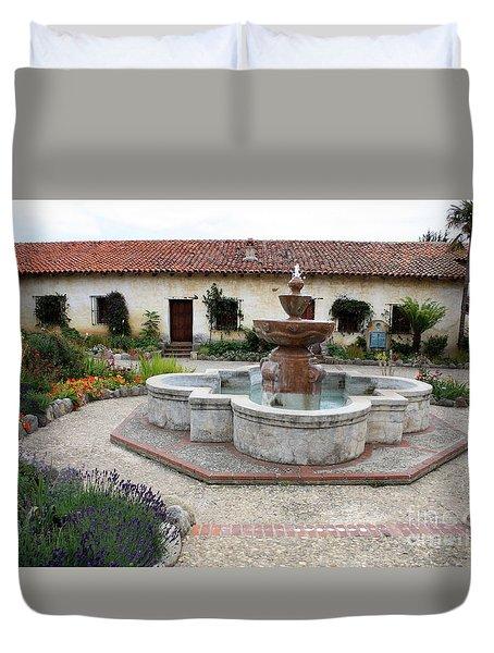 Carmel Mission Courtyard Duvet Cover by Carol Groenen