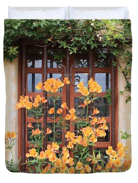 Carmel Mission Window Duvet Cover by Carol Groenen