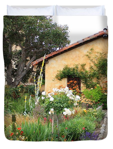 Carmel Mission With Path Duvet Cover by Carol Groenen