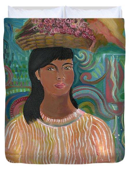 Duvet Cover featuring the painting Carmelita by John Keaton