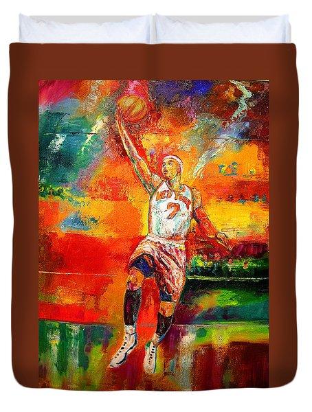 Carmelo Anthony New York Knicks Duvet Cover by Leland Castro