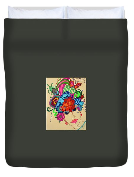 Duvet Cover featuring the painting Carmen by Alison Caltrider