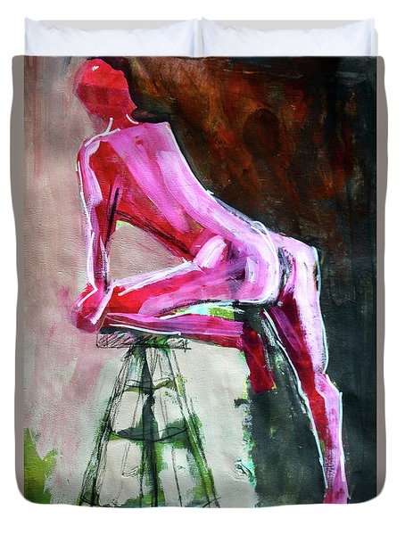 Duvet Cover featuring the painting Carmine Figure No. 3 by Nancy Merkle