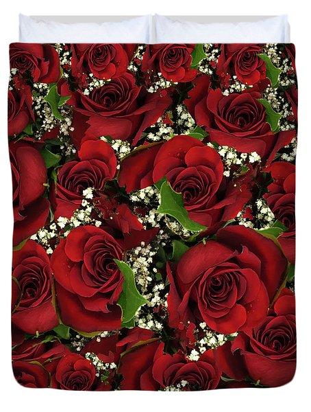 Carmine Roses Duvet Cover
