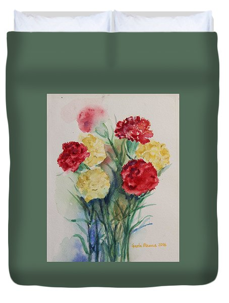 Duvet Cover featuring the painting Carnation Flowers Still Life by Geeta Biswas