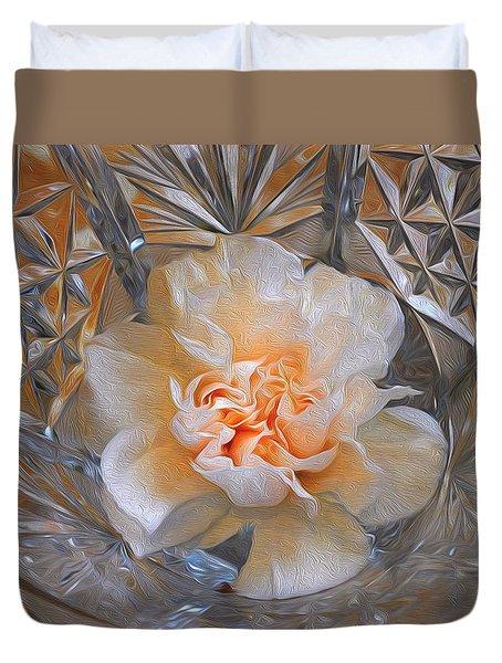 Carnation In Cut Glass 7 Duvet Cover by Lynda Lehmann