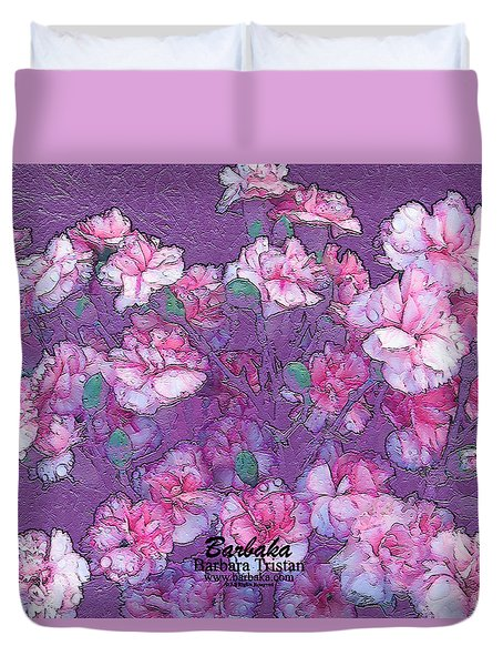 Duvet Cover featuring the digital art Carnation Inspired Art by Barbara Tristan