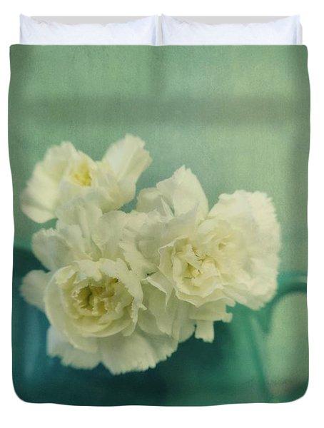 Carnations In A Jar Duvet Cover by Priska Wettstein