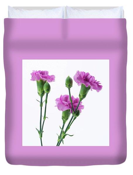 Carnations Three Lavender Duvet Cover