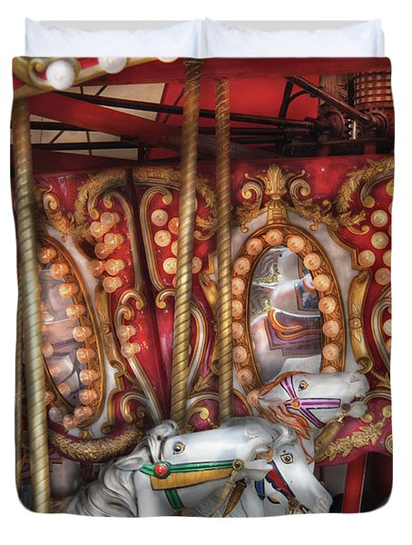 Carnival - The Carousel Duvet Cover by Mike Savad