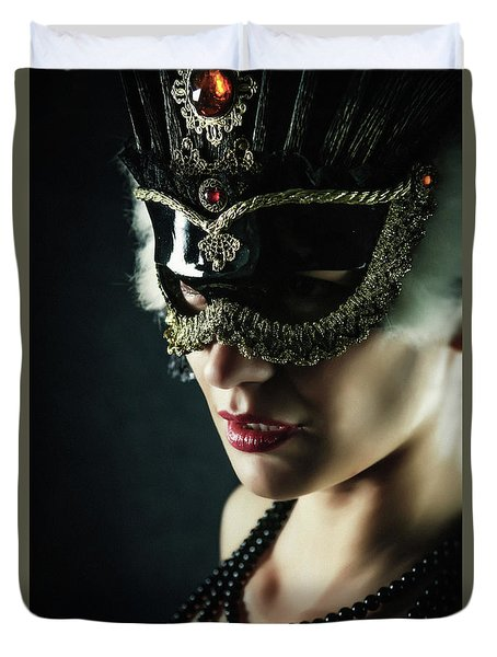 Duvet Cover featuring the photograph Carnival Mask Closeup Girl Portrait by Dimitar Hristov