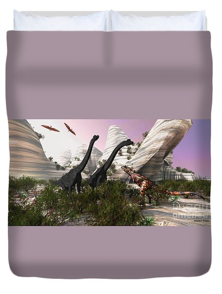 Carnotaurus Attack Duvet Cover by Corey Ford
