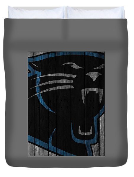 Caroilina Panthers Wood Fence Duvet Cover by Joe Hamilton