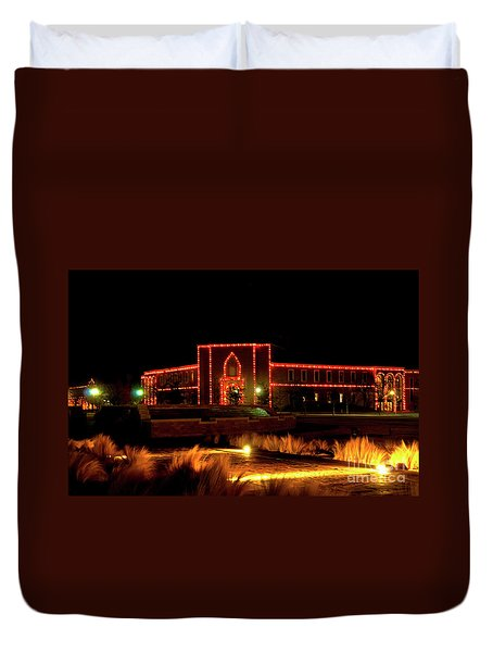 Duvet Cover featuring the photograph Carol Of Lights At Science Building by Mae Wertz