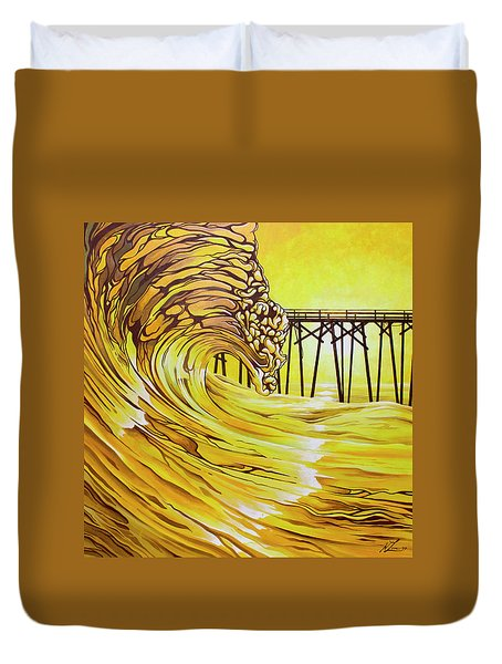 Duvet Cover featuring the painting Carolina Beach North End Pier by William Love