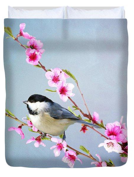 Carolina Chickadee And Peach Blossoms Duvet Cover