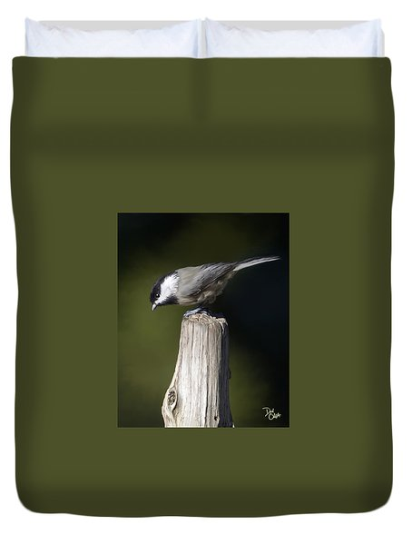 Duvet Cover featuring the photograph Carolina Chickadee by Don Olea
