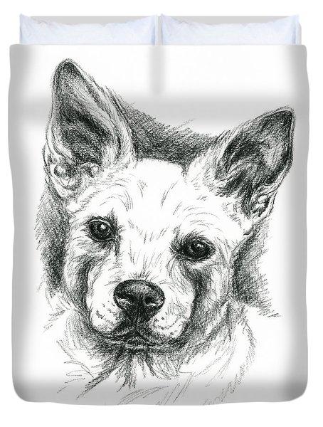 Carolina Dog Charcoal Portrait Duvet Cover