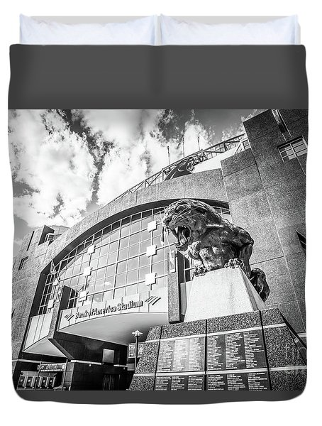 Carolina Panthers Stadium Black And White Photo Duvet Cover by Paul Velgos
