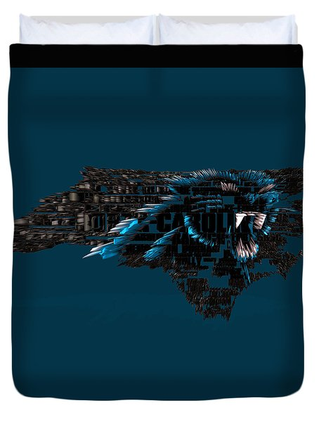 Carolina Panthers Typographic Map 4a Duvet Cover