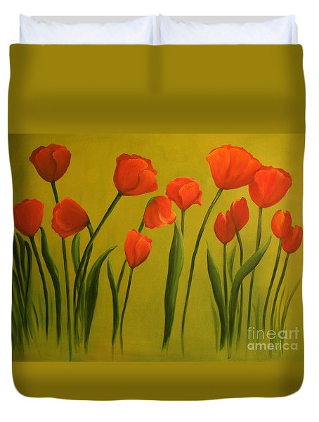 Carolina Tulips Duvet Cover by Carol Sweetwood