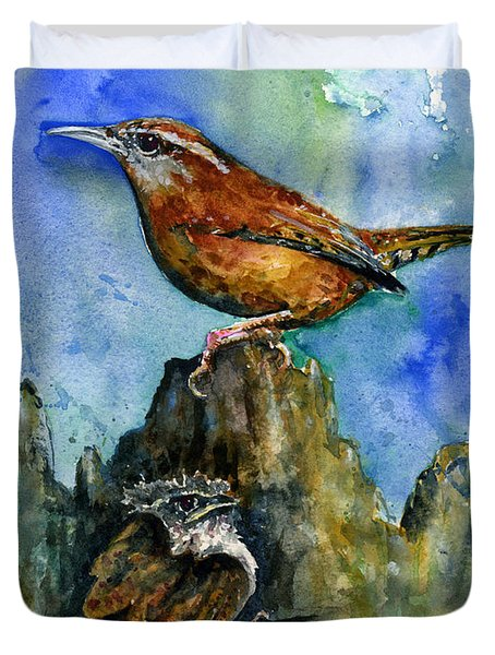 Carolina Wren And Baby Duvet Cover by John D Benson