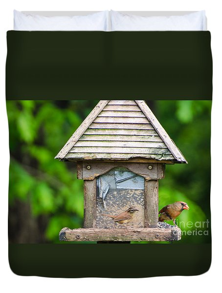 Duvet Cover featuring the photograph Carolina Wren And Friend by Donna Brown