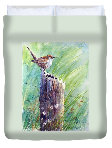 Duvet Cover featuring the painting Carolina Wren by Gloria Turner