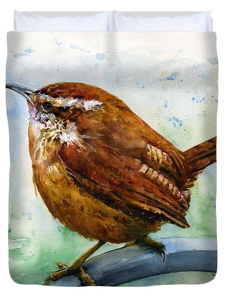 Carolina Wren Large Duvet Cover