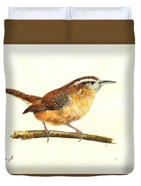Carolina Wren Watercolor Painting Duvet Cover by Juan  Bosco