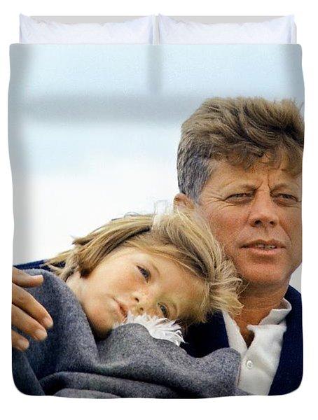 Caroline Kennedy And President Kennedy Duvet Cover