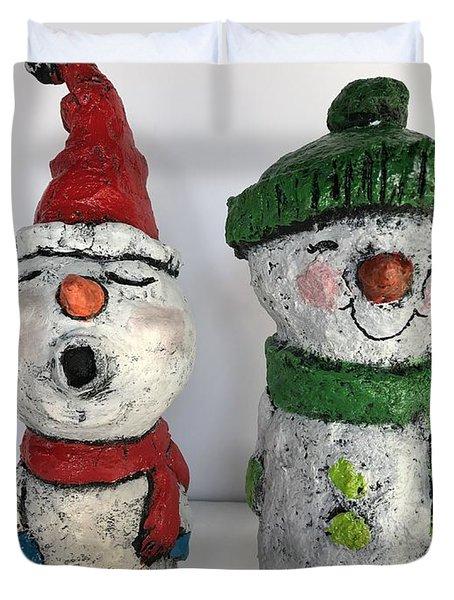 Caroling Snowmen Duvet Cover