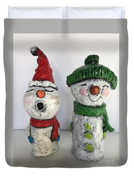 Duvet Cover featuring the sculpture Caroling Snowmen by Vickie Scarlett-Fisher