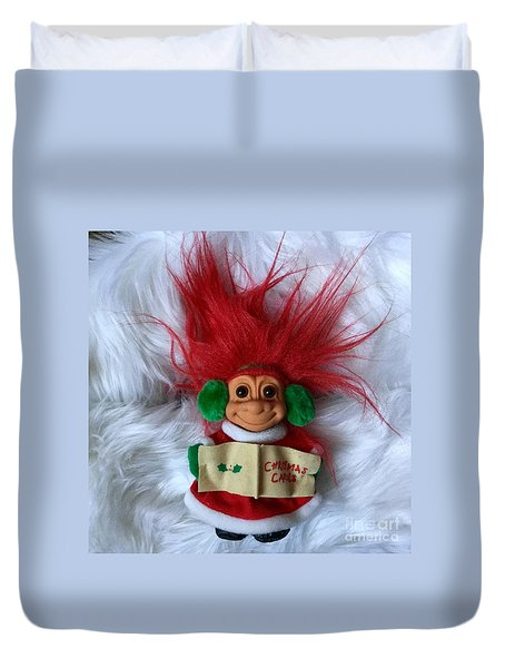 Caroling Troll Christmas 2015 Duvet Cover by Patricia E Sundik