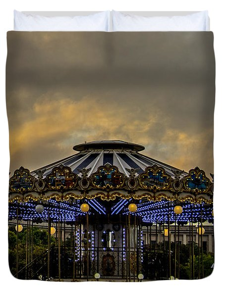 Duvet Cover featuring the photograph Carousel By The Eiffel Tower by Jean Haynes