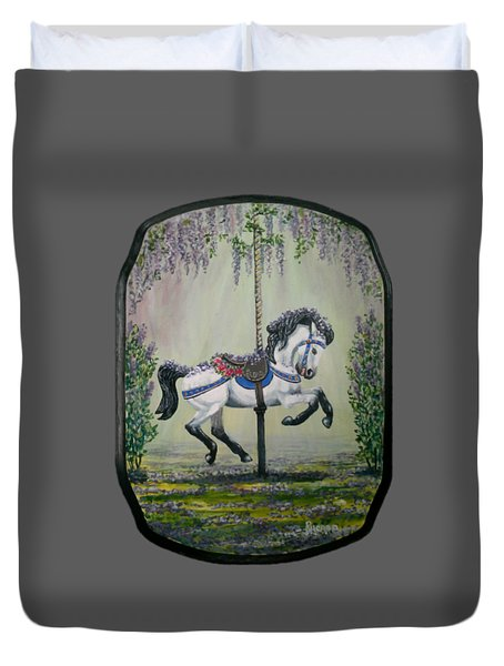 Carousel Garden The White Buckskin Stallion Duvet Cover