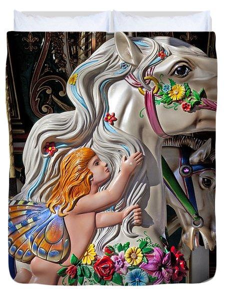Carousel Horse And Angel Duvet Cover